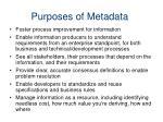 purposes of metadata