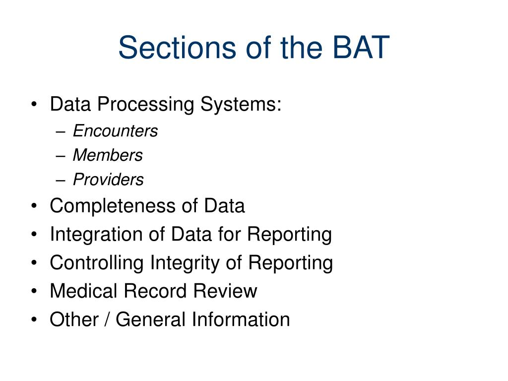 Sections of the BAT