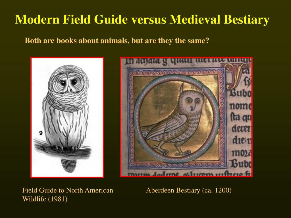 Modern Field Guide versus Medieval Bestiary