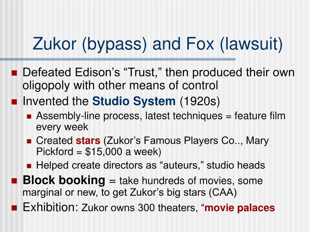 Zukor (bypass) and Fox (lawsuit)