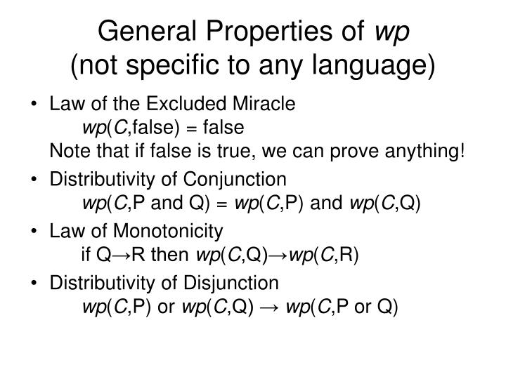 General properties of wp not specific to any language