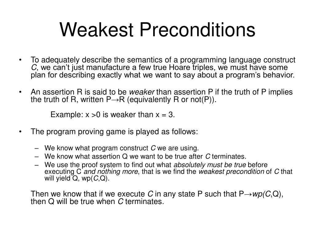 Weakest Preconditions