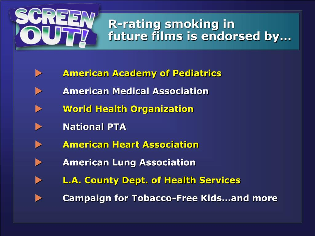 R-rating smoking in         future films is endorsed by…
