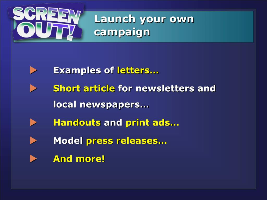 Launch your own campaign