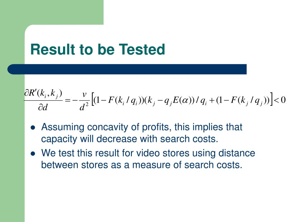 Result to be Tested