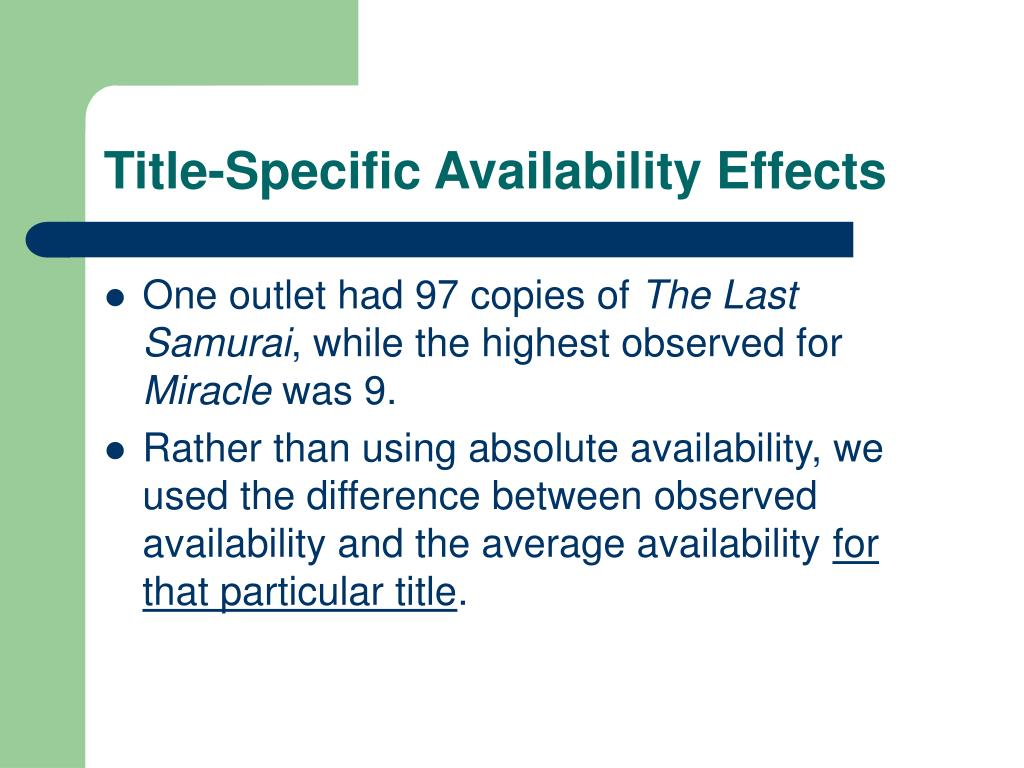 Title-Specific Availability Effects