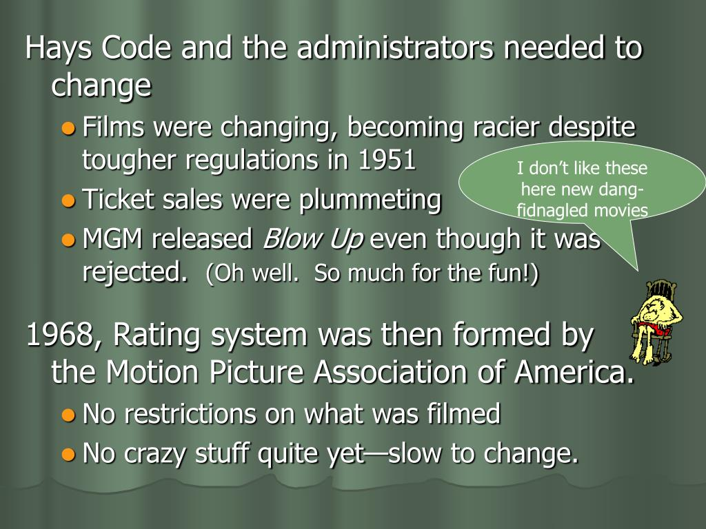 Hays Code and the administrators needed to change