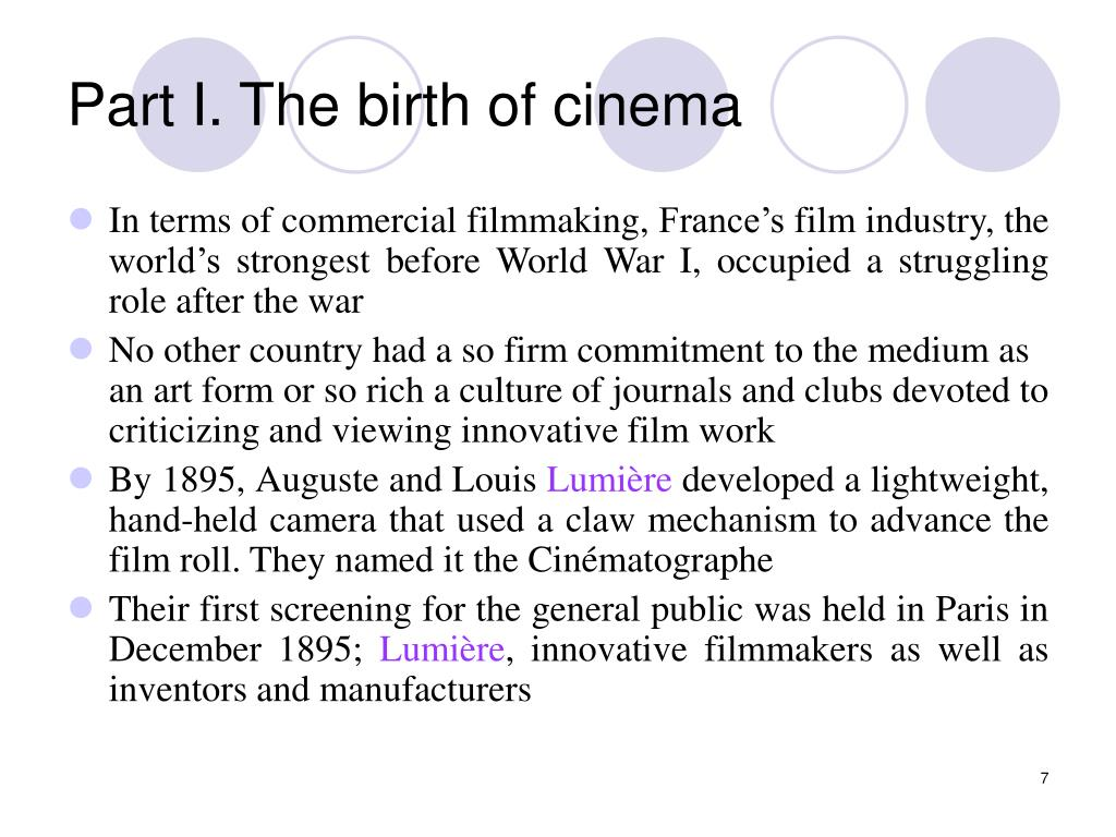 Part I. The birth of cinema