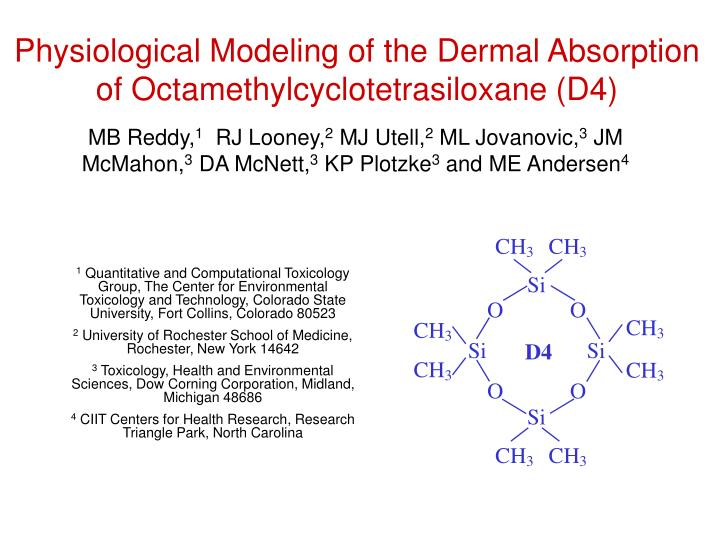 Physiological modeling of the dermal absorption of octamethylcyclotetrasiloxane d4
