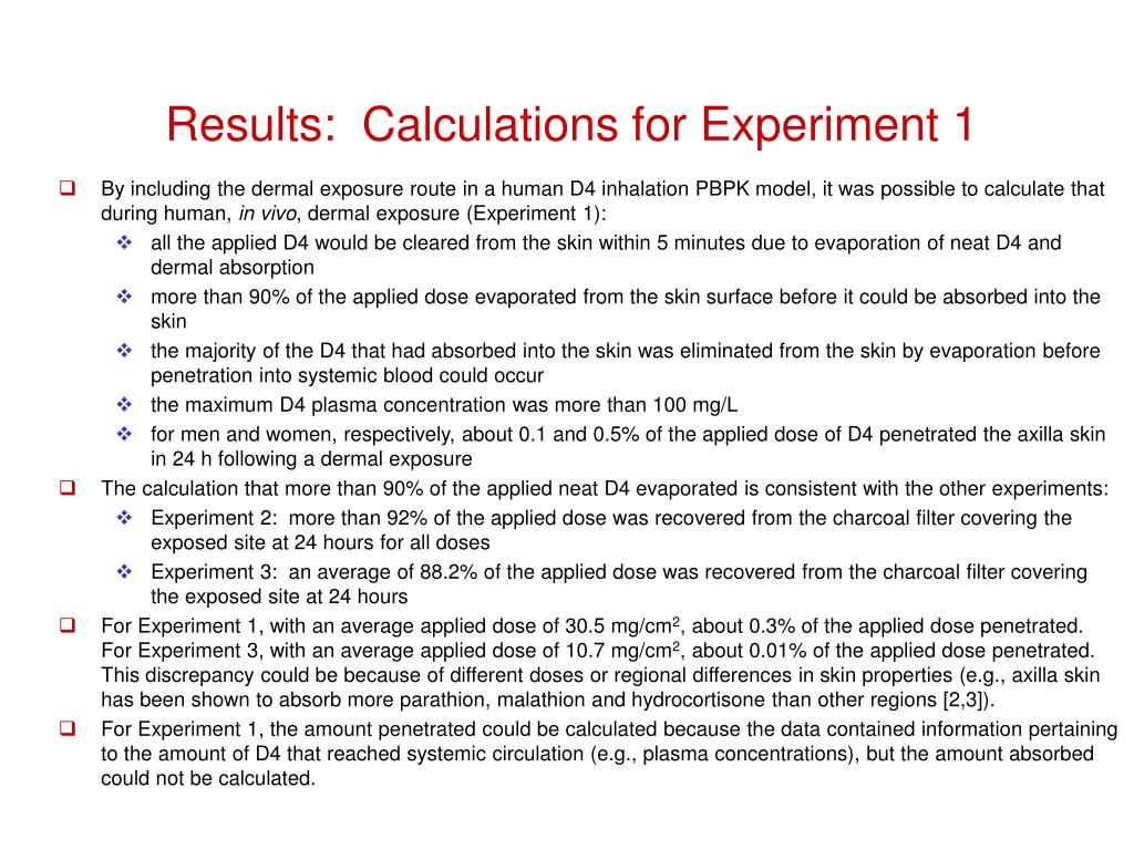 Results:  Calculations for Experiment 1