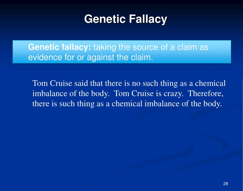 Genetic fallacy: