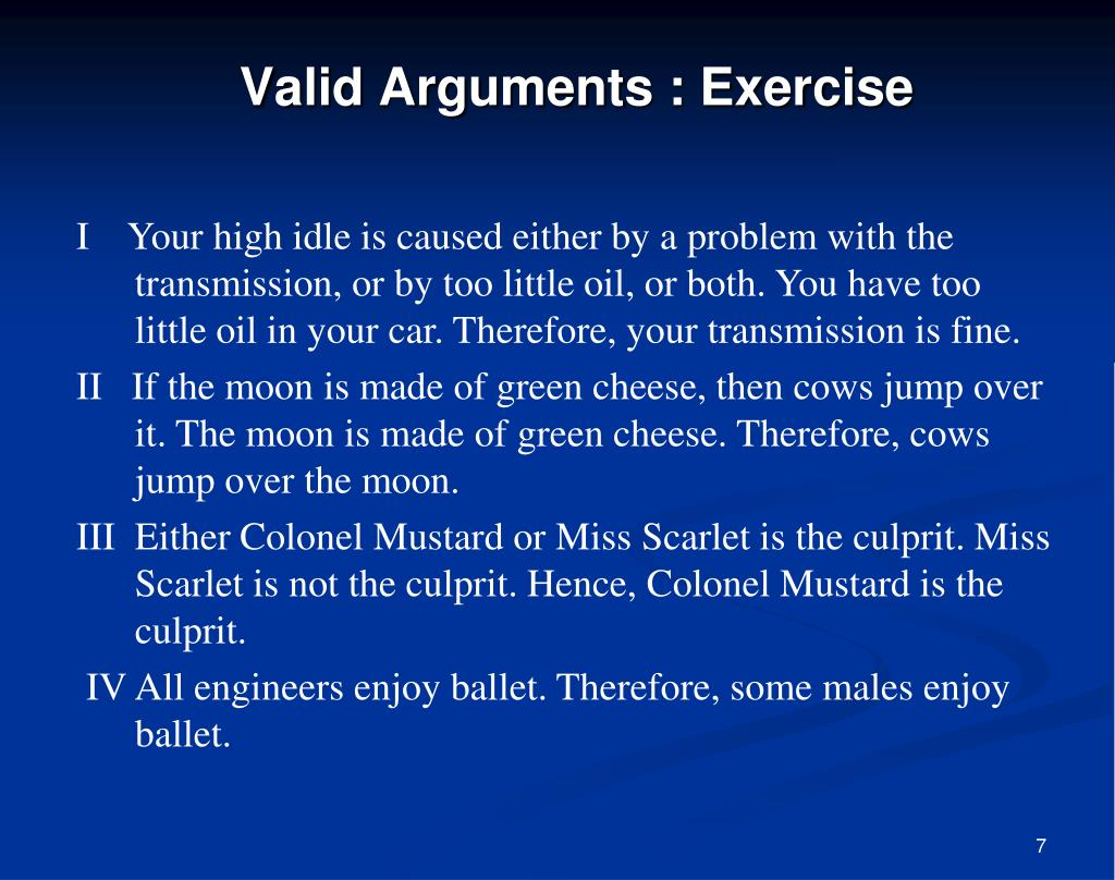 Valid Arguments : Exercise