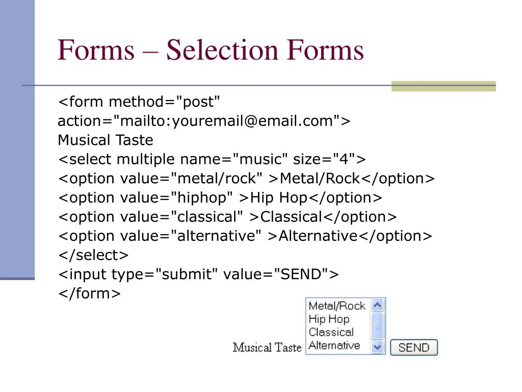 Forms – Selection Forms