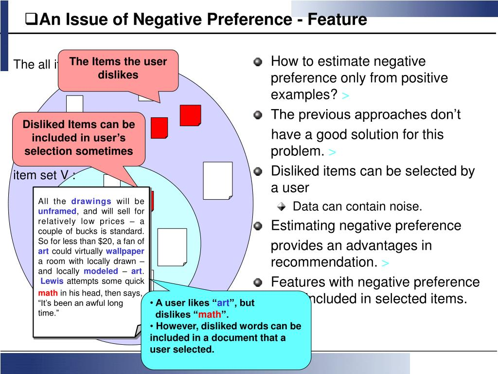 An Issue of Negative Preference - Feature
