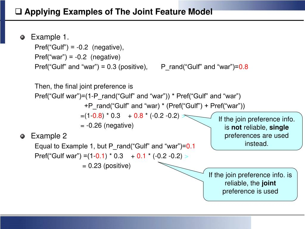 Applying Examples of The Joint Feature Model