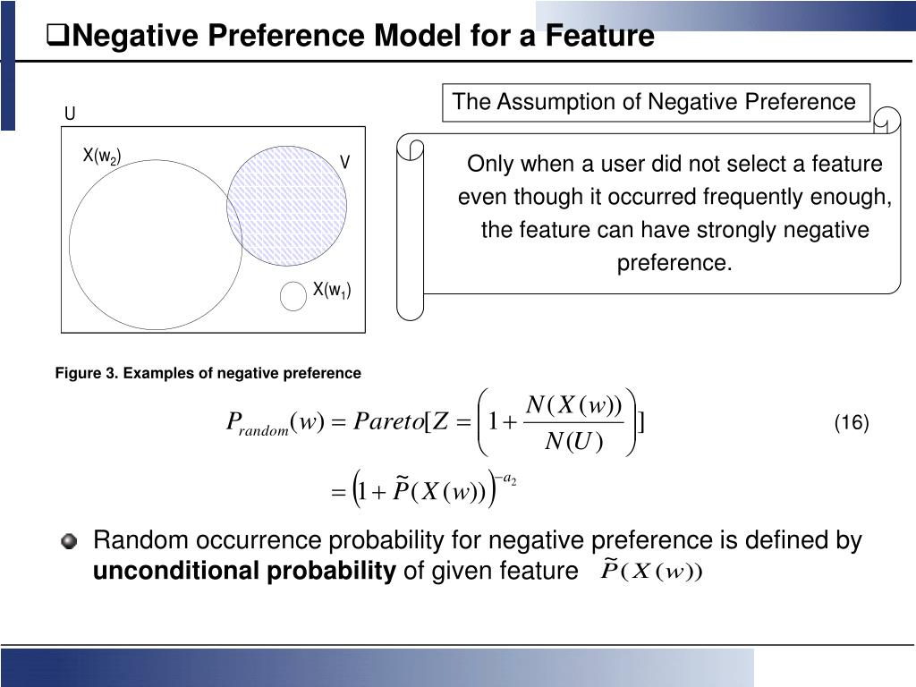 Negative Preference Model for a Feature