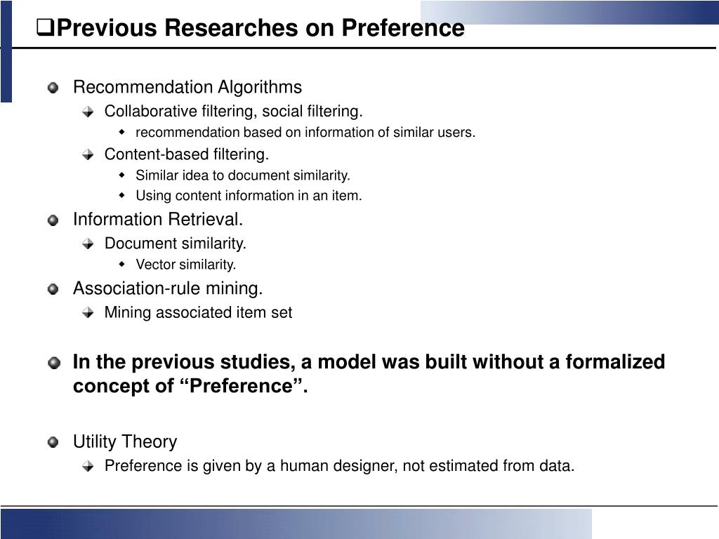 Previous Researches on Preference