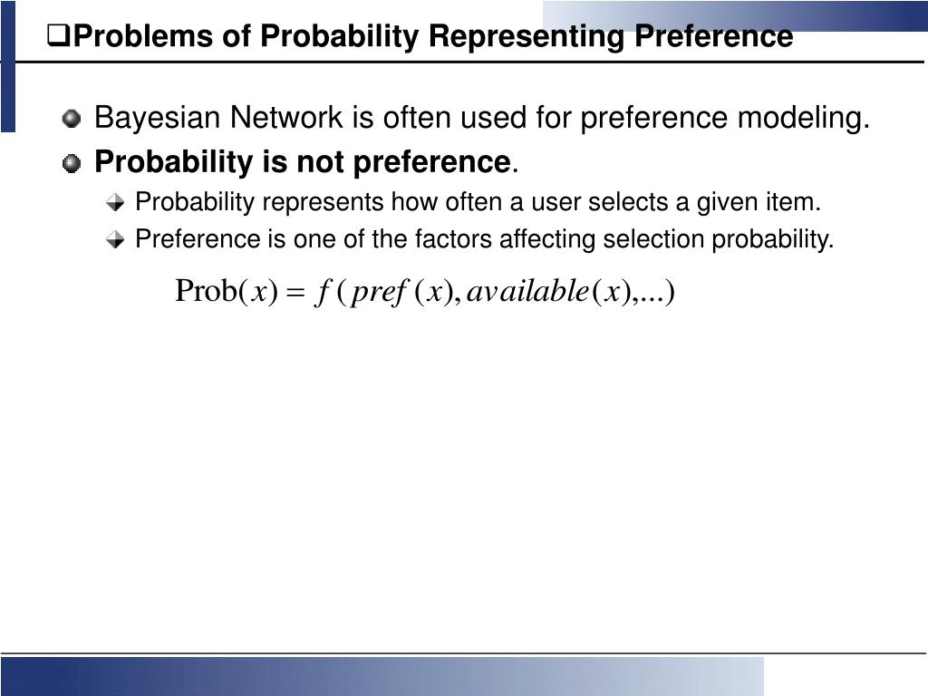 Problems of Probability Representing Preference