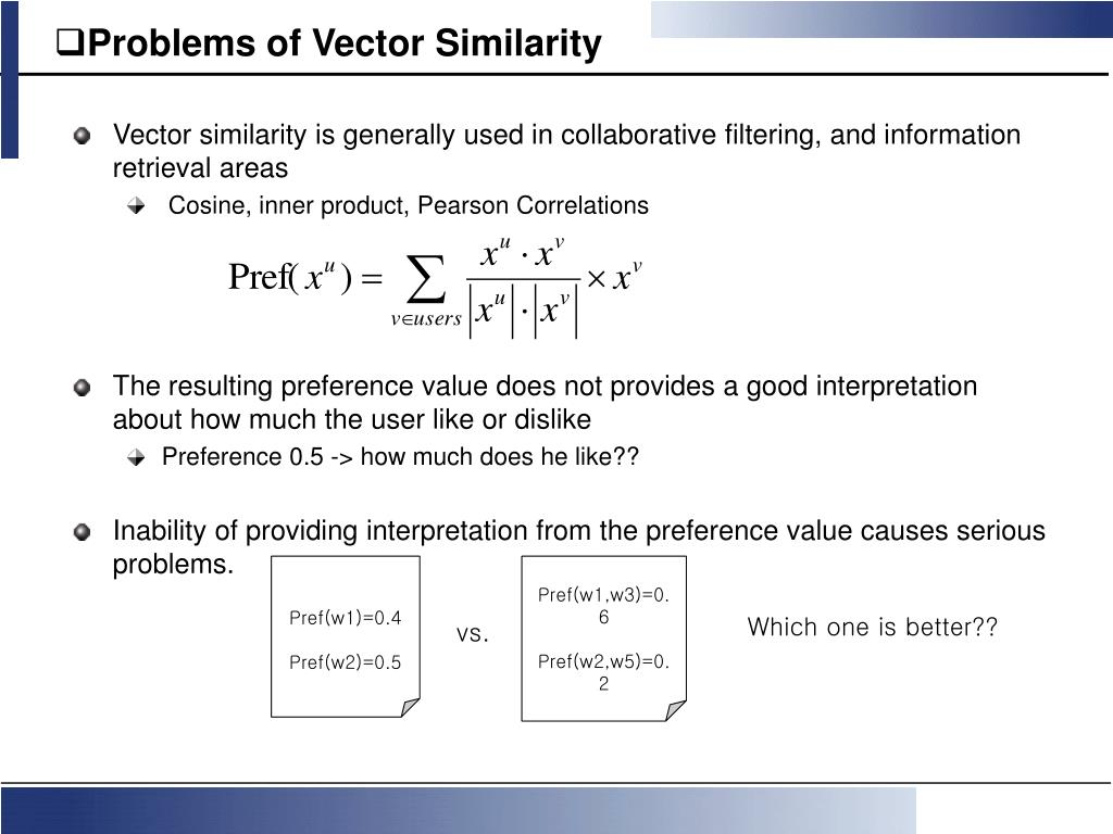 Problems of Vector Similarity