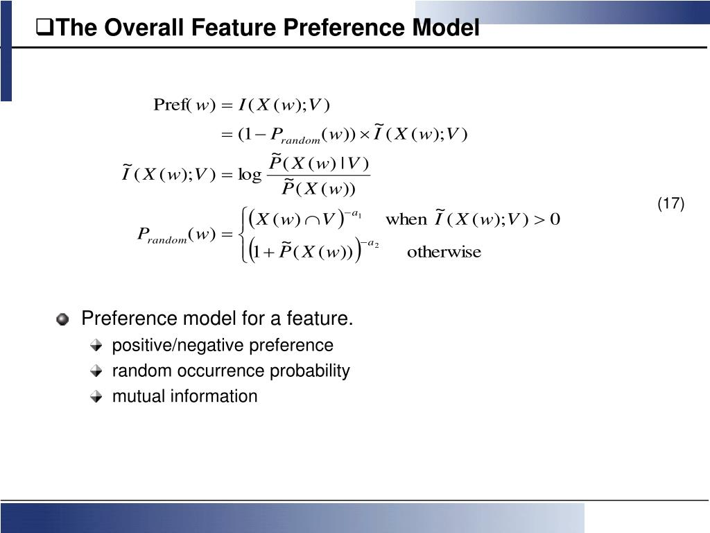 The Overall Feature Preference Model