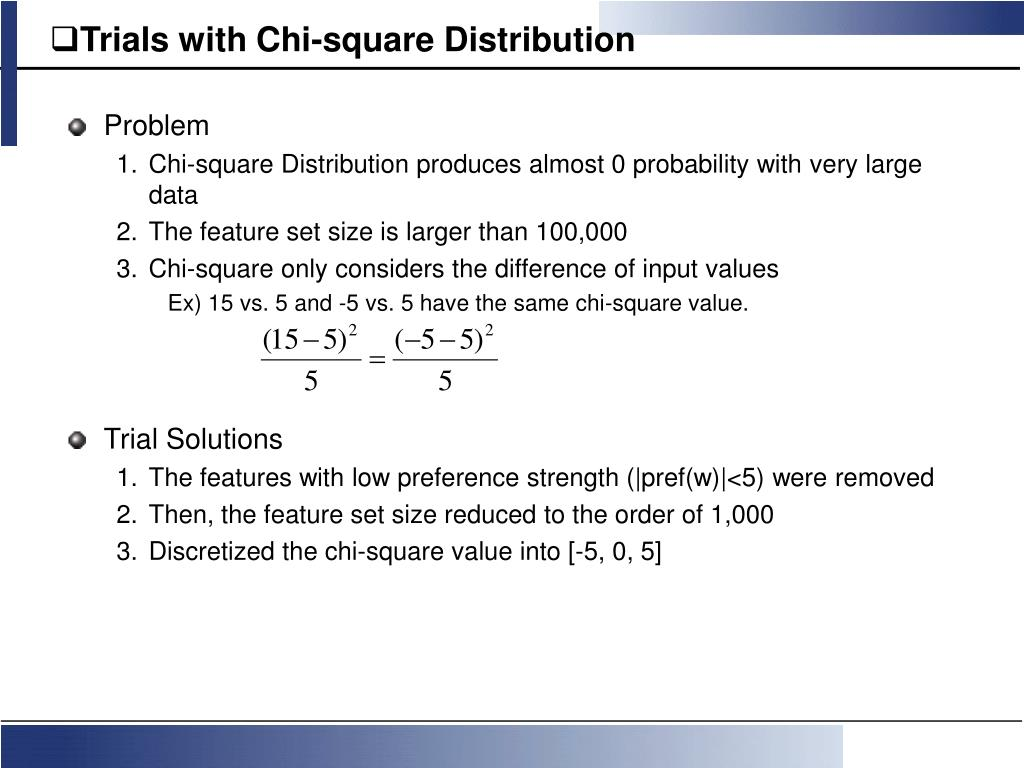 Trials with Chi-square Distribution