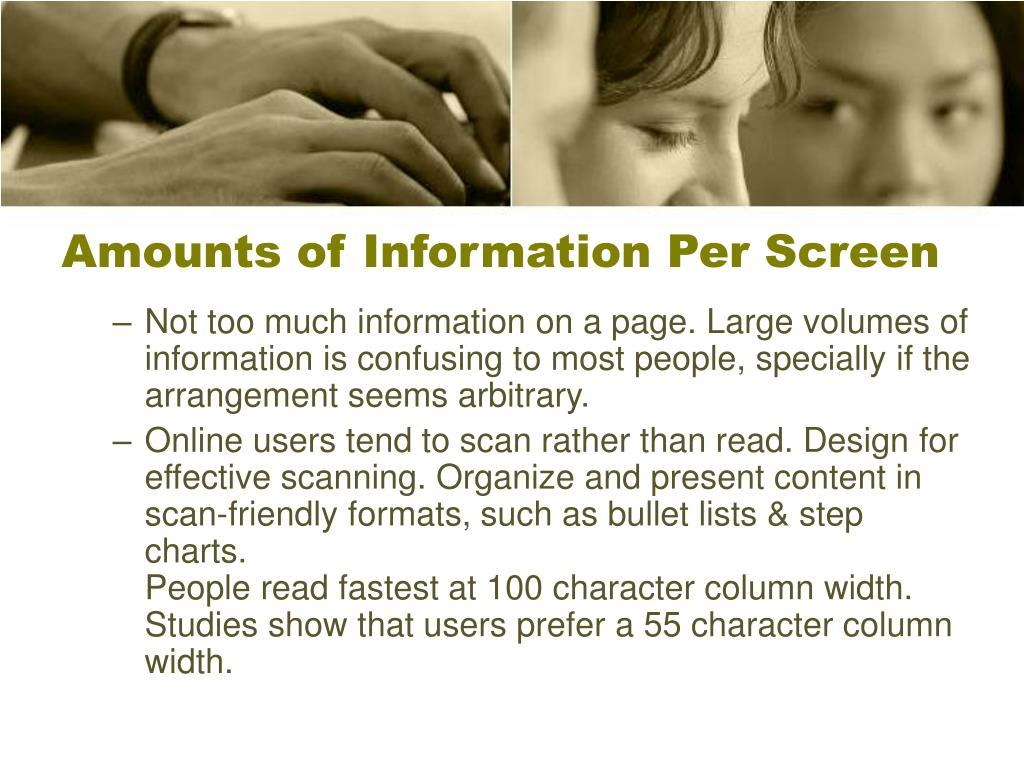 Amounts of Information Per Screen