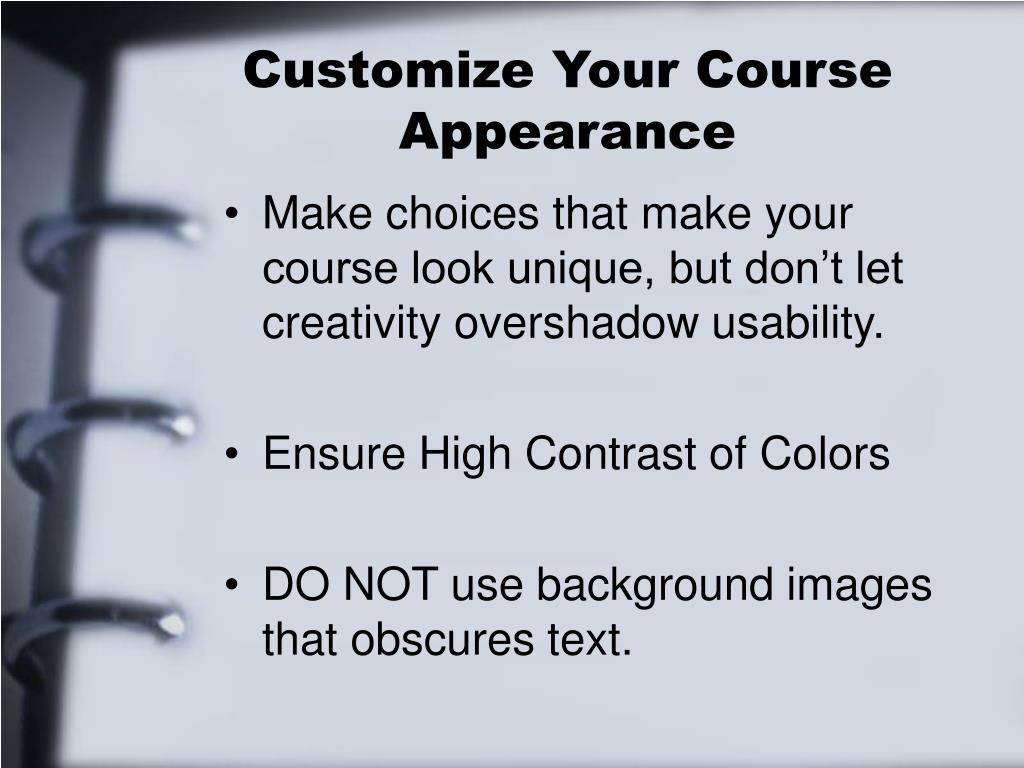 Customize Your Course Appearance