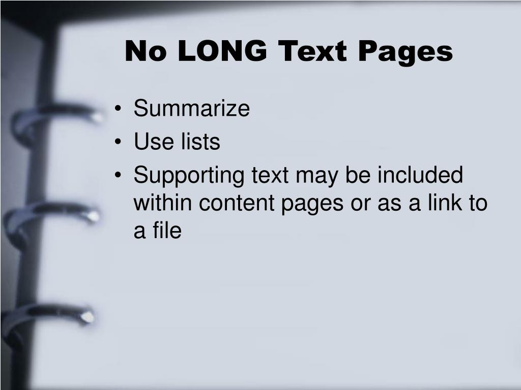 No LONG Text Pages
