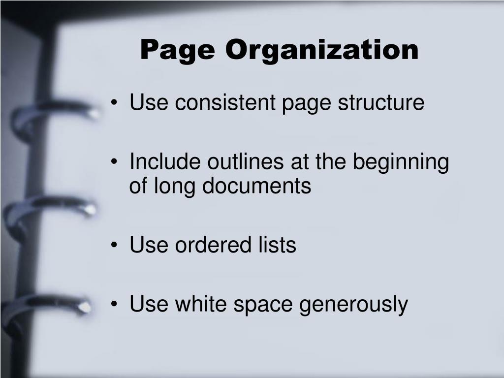 Page Organization