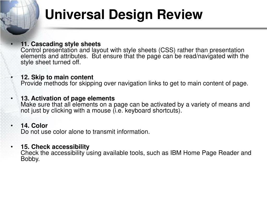 Universal Design Review