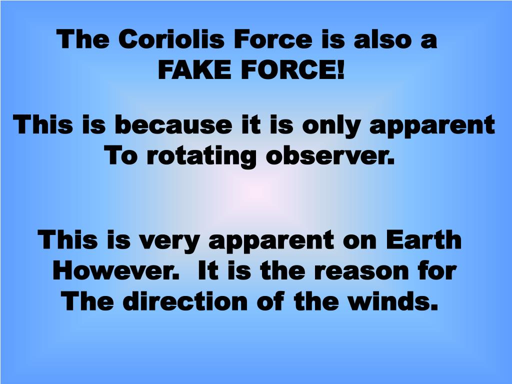 The Coriolis Force is also a