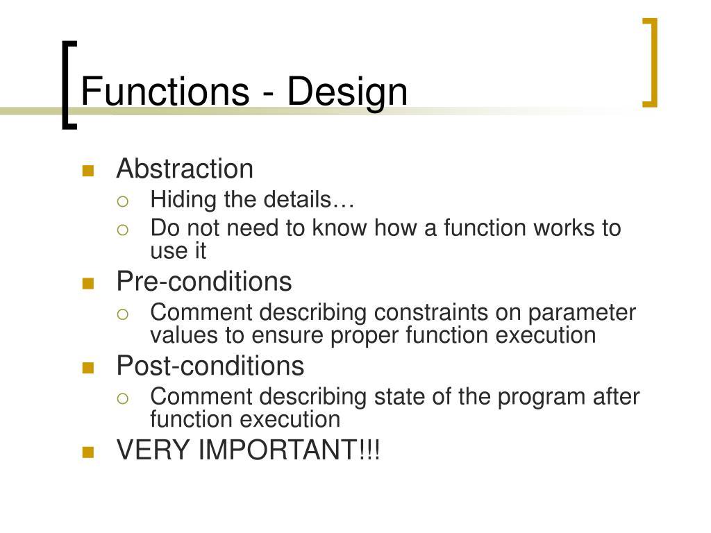 Functions - Design