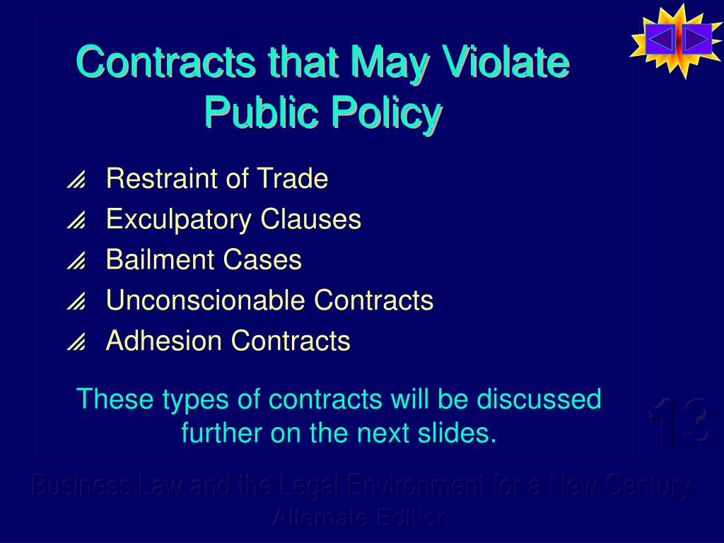 Contracts that May Violate Public Policy