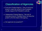 classification of agencies