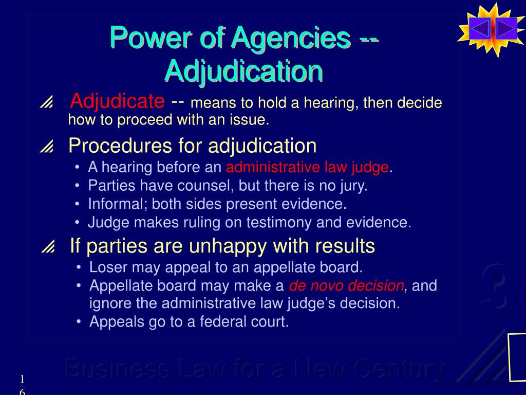 Power of Agencies -- Adjudication