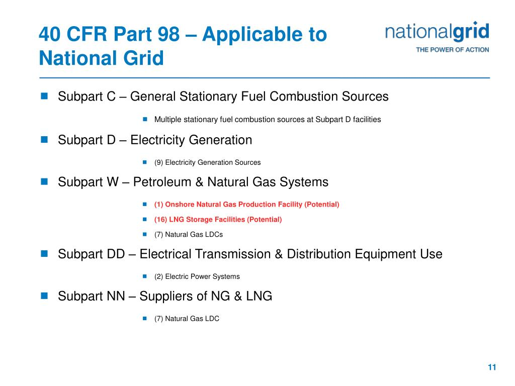40 CFR Part 98 – Applicable to National Grid