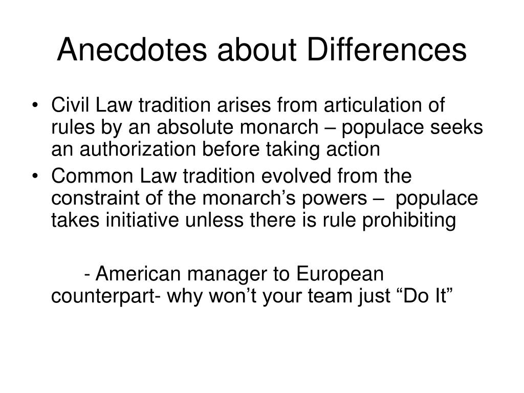 Anecdotes about Differences