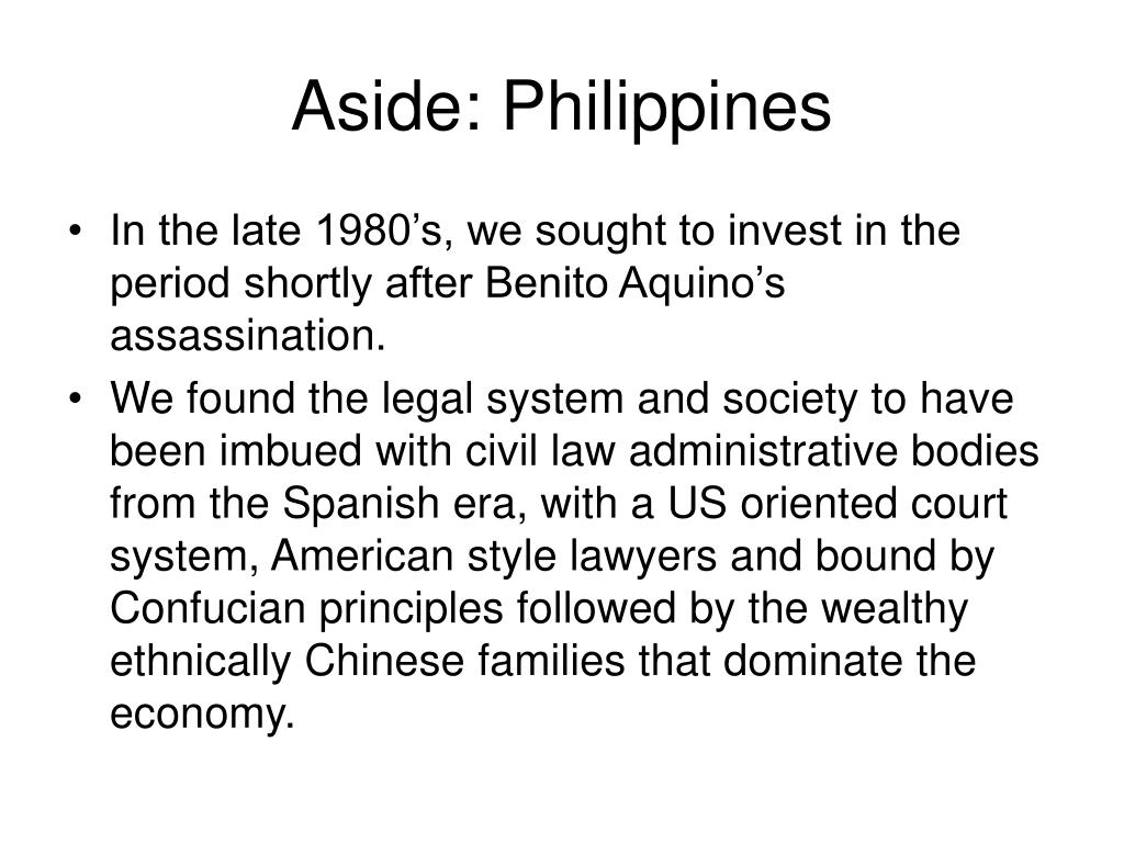 Aside: Philippines