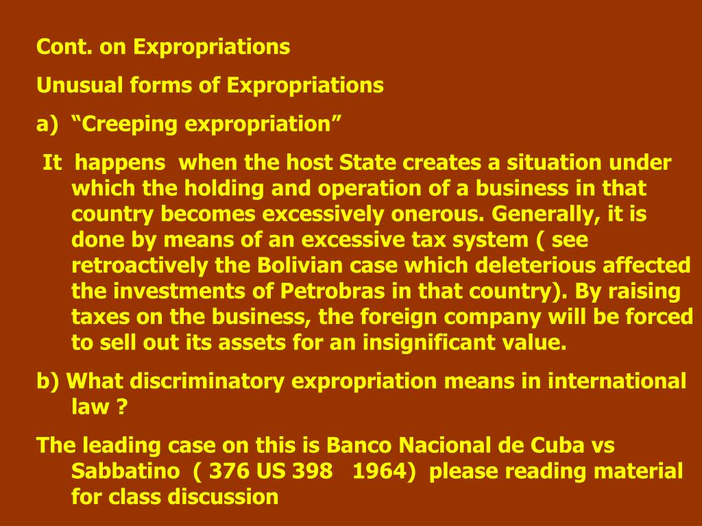 Cont. on Expropriations