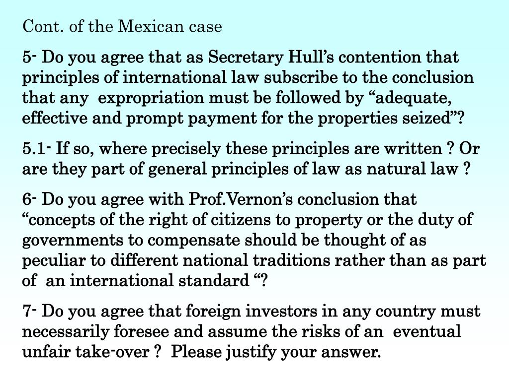 Cont. of the Mexican case