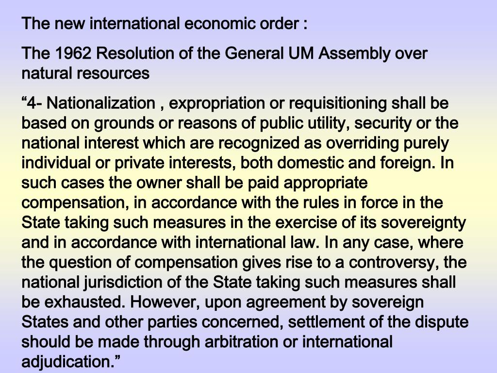 The new international economic order :