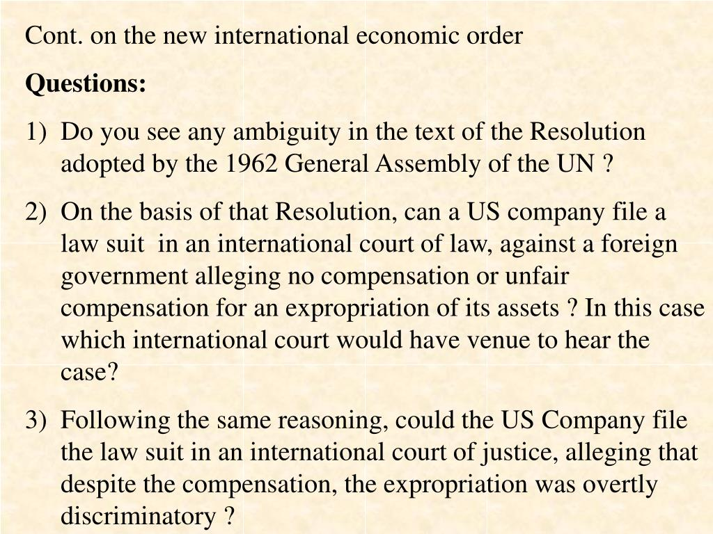 Cont. on the new international economic order