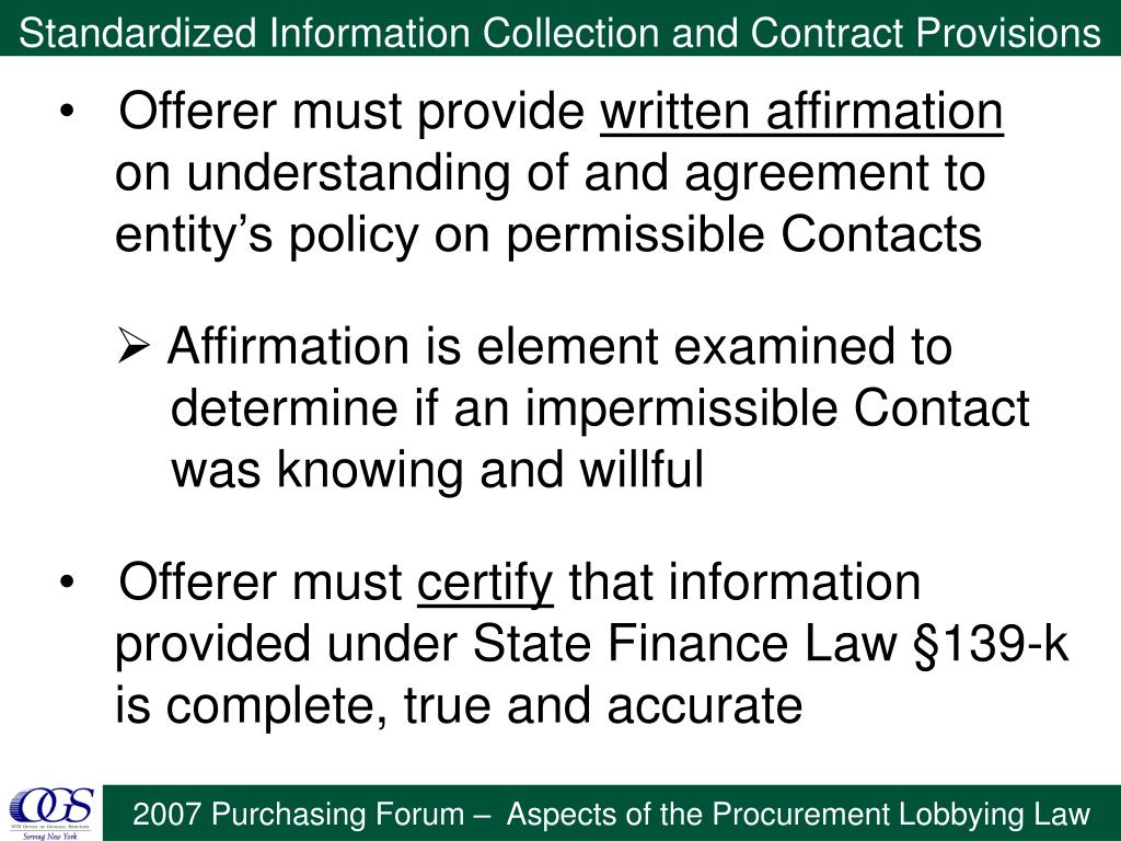 Standardized Information Collection and Contract Provisions