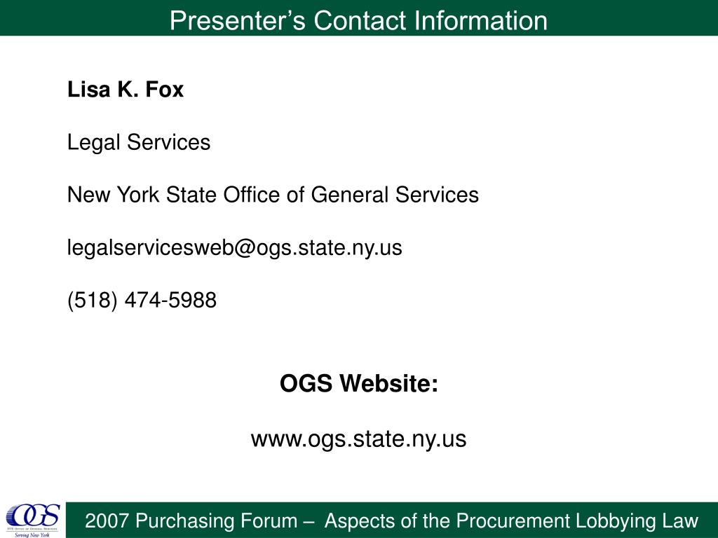 Presenter's Contact Information