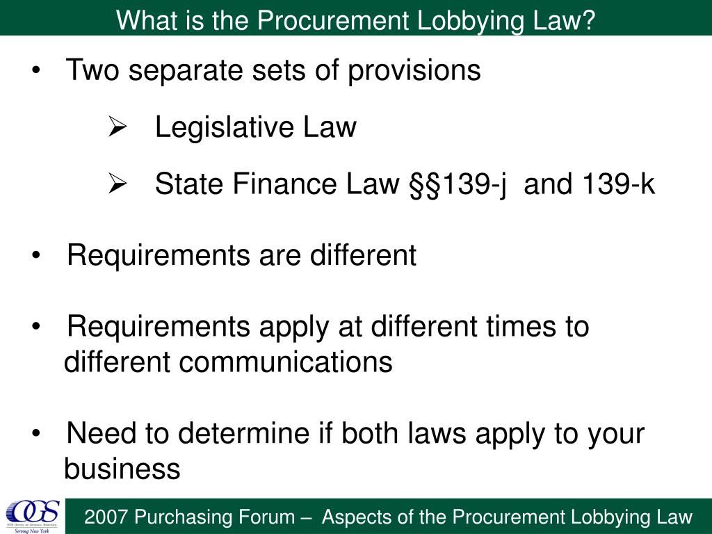 What is the Procurement Lobbying Law?