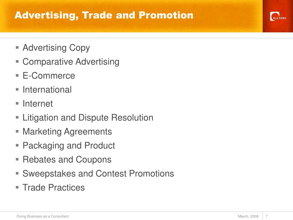 Advertising, Trade and Promotion