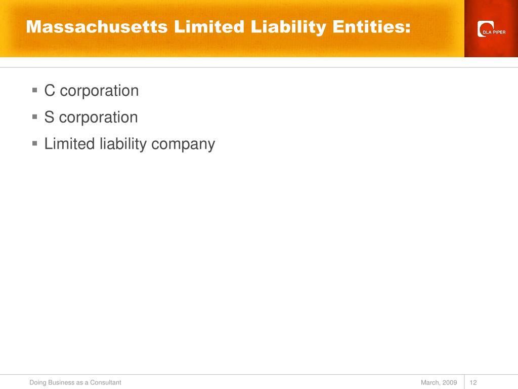 Massachusetts Limited Liability Entities: