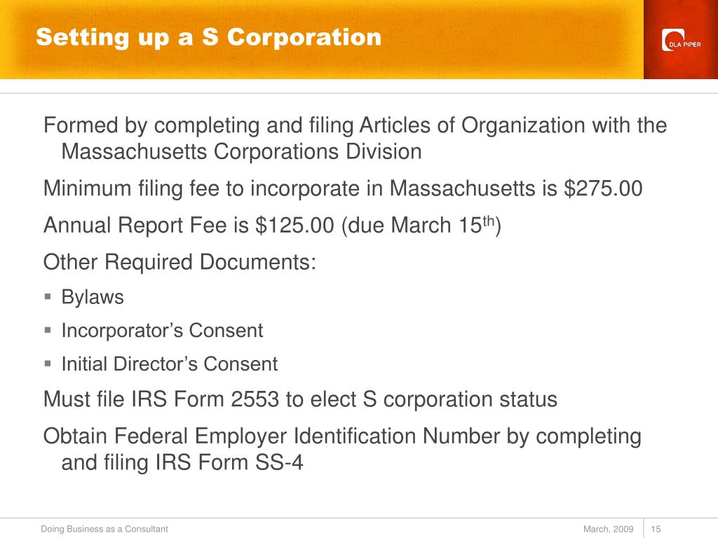 Setting up a S Corporation