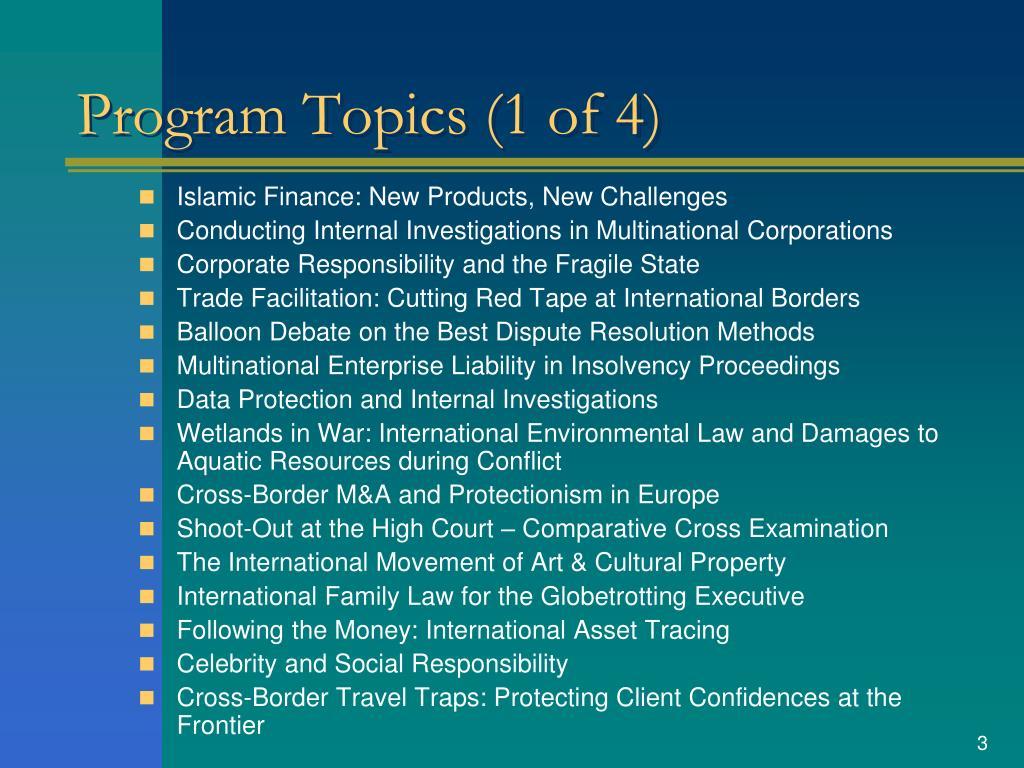 Program Topics (1 of 4)