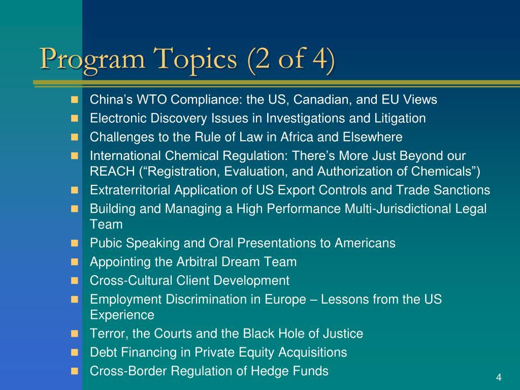 Program Topics (2 of 4)